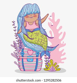 mermaid woman in the coffer with seaweed plants