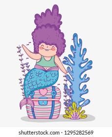 mermaid woman in the coffer and seaweed plants