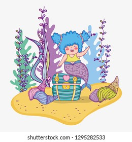 mermaid woman in the coffer with shells and branches leaves