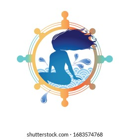 Mermaid woman with hair blowing in Ships Wheel with Water splashes and Waves