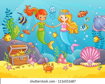 Mermaids among the fishes hold hands. Mermaid's girlfriends. Vector illustration on a sea theme in cartoon style. Picture with fish under water.