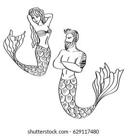 Mermaids. Couple, beautiful man and woman
