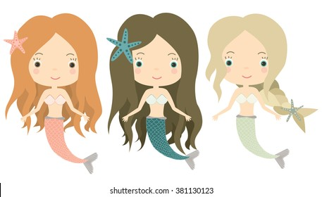 Mermaids. Little cute girls. Underwater world. Sea, ocean. Fantasy, fairy tale.Cute vector illustration  for children.