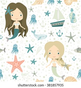 Mermaids. Little cute girls. Underwater world. Sea, ocean. Fantasy, fairy tale. Seamless pattern. All elements are  hidden under mask. Pattern are not cropped and can be edited