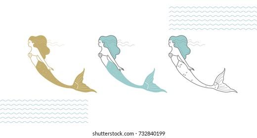 Mermaids in a modern minimalist style, line art illustration.