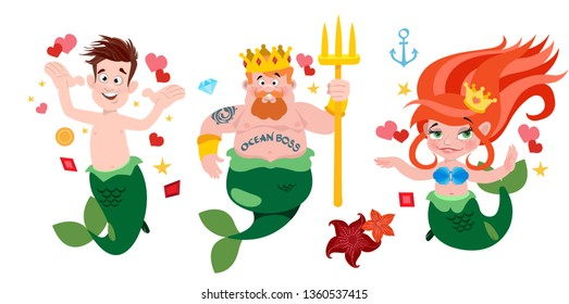 Merman, Neptune and mermaid. Set of cartoon characters isolated on white background for pirate party, games and more.