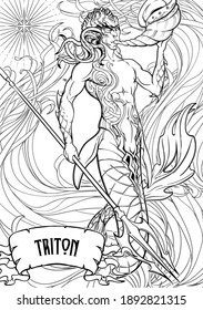 Merman or triton mythological ocean creature armed with trident and horn on a decorative seaweed background. Hand drawn artwork. Coloring book page. EPS10 vector illustration.