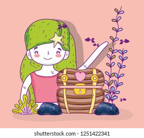 mermeid woman with plants leaves and coffer