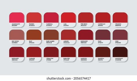 Meroon Color Guide Palette with Color Names. Catalog Samples Meroon with RGB HEX codes and Names. Metal Colors Palette Vector, Wood and Plastic Meroon Color Palette, Fashion Trend Meroon Color Palette