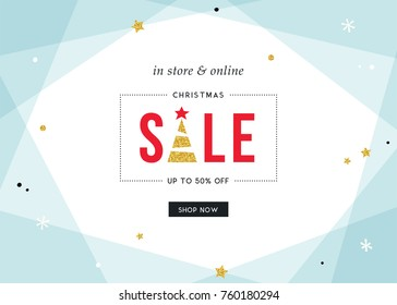 Merry ChristmasSale banner. Contemporary geometric background with bold typographic design and golden glitter elements.Horizontal template.Vector illustration.