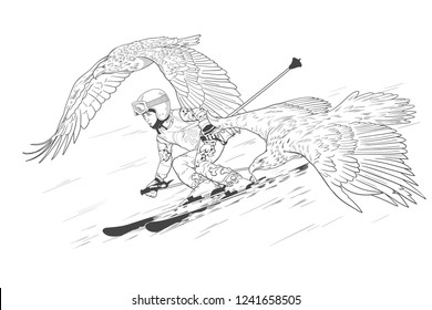 Merry boy skiing in the mountains with two eagles.
