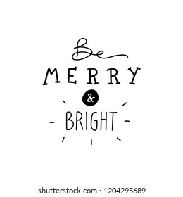 Merry and bright doodle vector