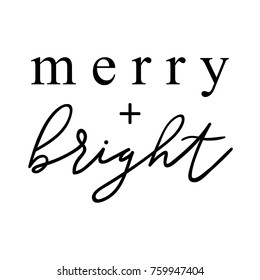 Merry and bright hand drawn lettering for christmas