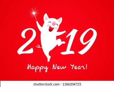 A merry character of a piglet is a symbol of the new year 2019. a festive greeting card or a congratulation on a new year - the year of a pig! Vector illustration.