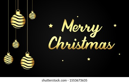 Merry chirstmas background with golden hanging bells and stars