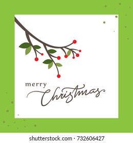 merry chirstmas design vector with red berries