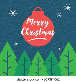 merry chirstmas night design vector with lamp ball