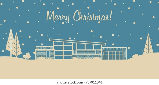 Merry Chistmas Vector Greeting Card. Stylization under the Mid Century Postcard