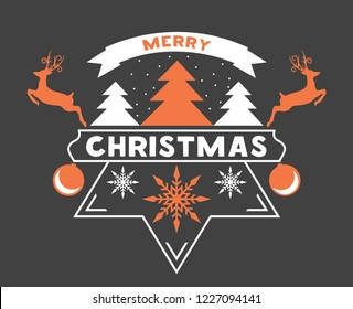 Merry Chrismas greeting card with snow flakes, Christmas tree and Reindeer. Vector illustration.