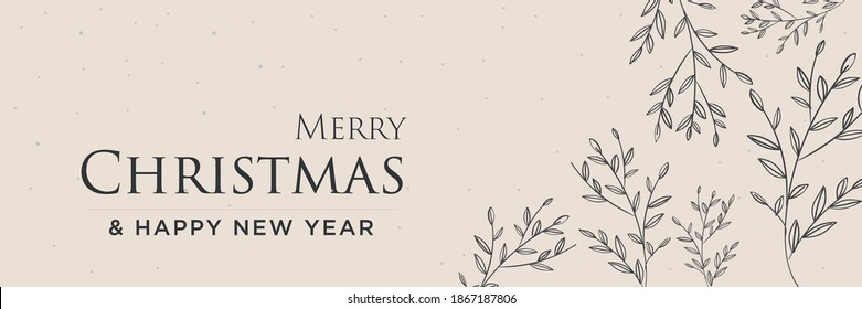 Merry Chrismas and happy new year banner with leaf vector design