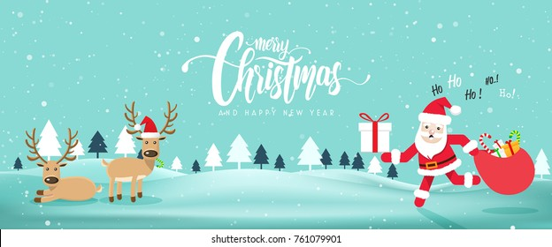 Merry Chrismas and Happy New Year website banner with Cute Santa Claus and Reindeer.Vector illustration EPS10