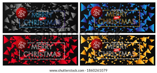 merry chrismas sale up to 70% event text on black background vector design illustration.