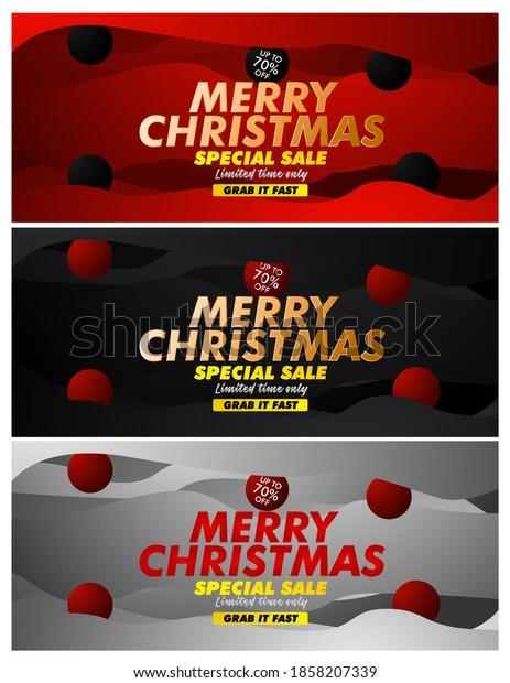 merry chrismas sale event text on black background vector design illustration.