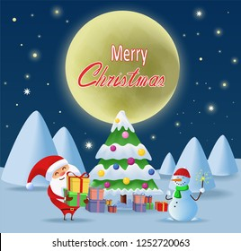 Merry Chrismas. Santa Claus with gifts and presents standing near the Chrismas tree. Snow man with bengal light under the moon.