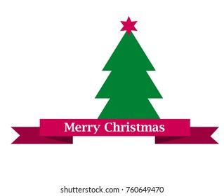 merry christams sign on red ribbon and simple flat green chirstmas tree with star vector illustration isolated on white