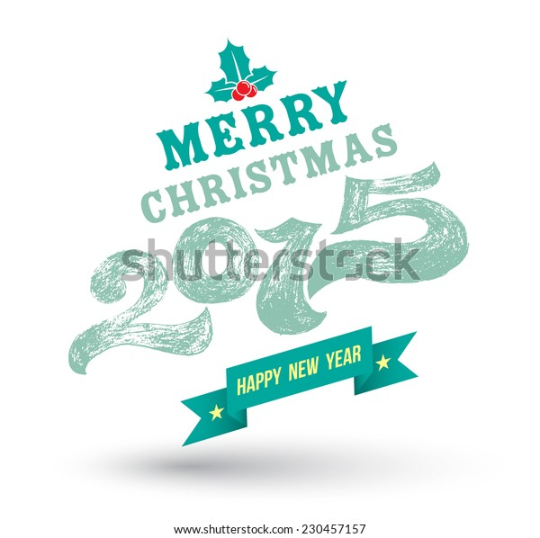 Merry Christmas 2015 drawing style. Vector illustration.