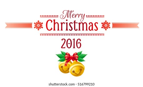 Merry Christmas 2016 holiday horizontal banner isolated on white background. Vector illustration, jingle bells bow ribbon decoration icon