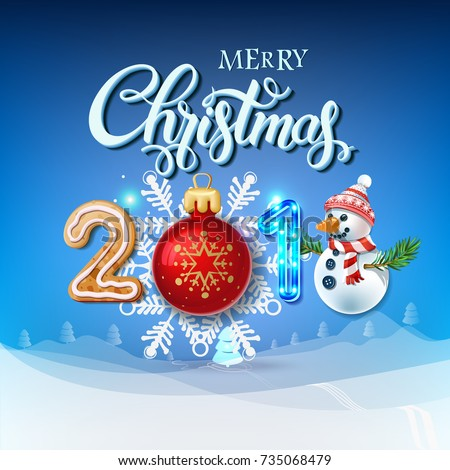 merry christmas 2018 decoration poster card happy new year sign background and composition on a - Sign Up For Free Christmas Toys