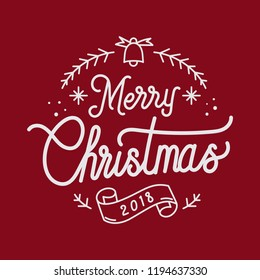 Merry Christmas 2018 greeting badge vector
