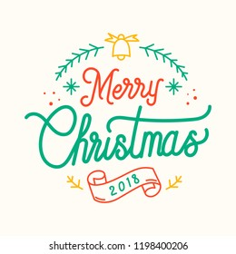 Merry Christmas 2018 greeting badge vector