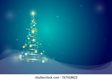 Merry Christmas 2018 greeting card. Snowflake and glowing light decoration on Christmas tree. Abstract glowing light Christmas tree.