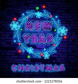 Merry Christmas and 2019 Happy New Year neon sign with snowflakes, hanging christmas ball. Neon design for xmas, new year emblem, bright signboard, light banner. Night signboard