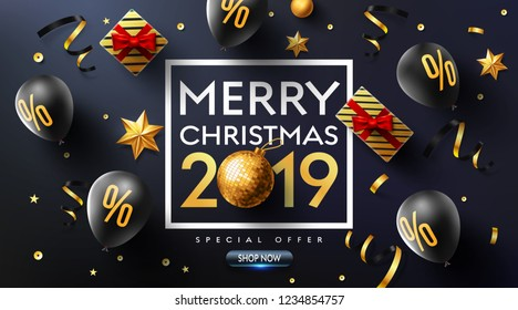 Merry Christmas 2019 Promotion Poster or banner with balloons,gift box,golden ribbon and confetti.Promotion or shopping template for Christmas and new year. 2019.Vector EPS10