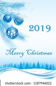 Merry Christmas 2019. Vector illustration