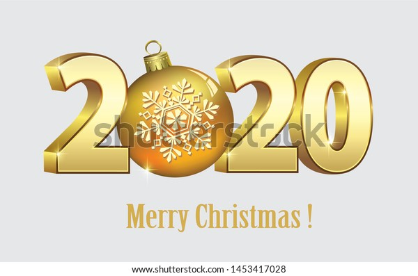 Date Of Christmas 2020 Merry Christmas 2020 Background Date 3d Stock Vector (Royalty Free