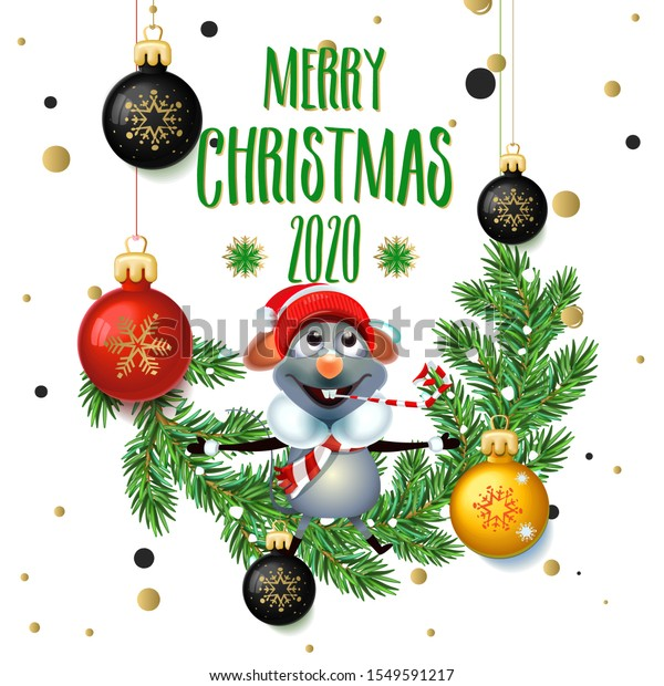 Christmas 2020 Signs Merry Christmas 2020 Poster Card Rat Stock Vector (Royalty Free
