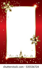 Merry Christmas 2021Happy New Year greeting card frame glitter fir tree, sparkle gold snowflakes confetti Christmas decoration light effect cards paper cut Vector border Winter Holiday foil craft