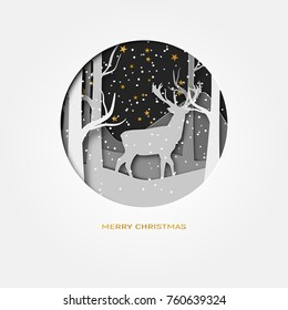 Merry Christmas 3d abstract paper cut illustration of deer in the forest. snow and stars in the night. Vector colorful template greeting card in carving art style. Eps10.