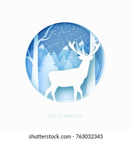 Merry Christmas 3d abstract pastel paper cut illustration of snow and deer in the forest. Vector colorful template greeting card in carving art style. Eps10.