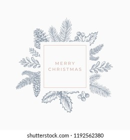 Merry christmas Abstract Botanical Card with Square Frame Banner and Modern Typography. Grey and Pink Pastel Colors Greeting Layout. Isolated.