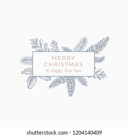 Merry Christmas Abstract Botanical Card with Rectangle Frame Banner and Modern Typography. Grey and Pink Pastel Colors Greeting Layout. Isolated.