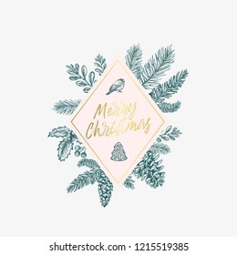 Merry Christmas Abstract Botanical Card with Rhombus Frame Banner and Modern Typography. Green, Golden and Pink Pastel Colors Greeting Layout. Isolated.