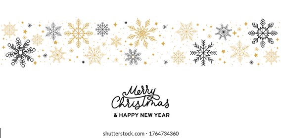 Merry Christmas abstract card with snowflakes and lettering. Winter background with golden and black snowflakes isolated on white background. Vector illustration