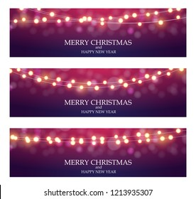 Merry Christmas Abstract Ligth Bulb Garland Background Vector Illustration EPS10