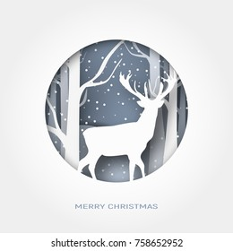 Merry Christmas abstract paper cut illustration of snow and deer in the forest. Vector colorful template greeting card in carving art style.