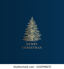 Merry Christmas Abstract Vector Classy Label, Sign or Card Template. Hand Drawn Golden Pine Tree Sketch Illustration with Vintage Typography. Premium Blue Background.